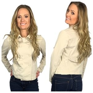 GAP Double Breasted Khaki Utility Jacket Peacoat